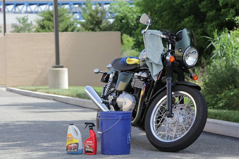 Get your cleaning materials-motorcycle